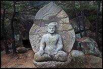 Seated stone Yeora buddha statue, Namsan Mountain. Gyeongju, South Korea ( color)