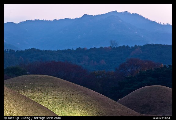 Burial mounds and hills. Gyeongju, South Korea (color)