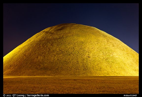 Grassy burial mound at night. Gyeongju, South Korea (color)