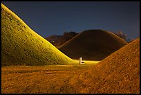 Burial mounds and tombs at night. Gyeongju, South Korea ( color)