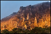Last light on pinnacles. Jeju Island, South Korea (color)