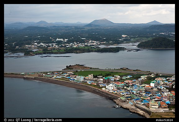 Seongsang Ilchulbong and volcanoes from above. Jeju Island, South Korea (color)