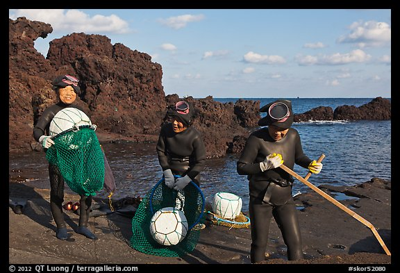 Haeneyo women with fishing gear. Jeju Island, South Korea (color)
