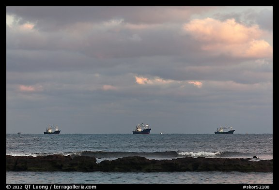 Fishing boats offshore. Jeju Island, South Korea (color)