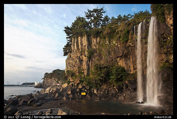 Jeongbang Pokpo, only waterfall in Asia dropping into sea, Seogwipo. Jeju Island, South Korea (color)
