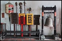 Bell and sicks, Loo Pun Hong temple. George Town, Penang, Malaysia (color)