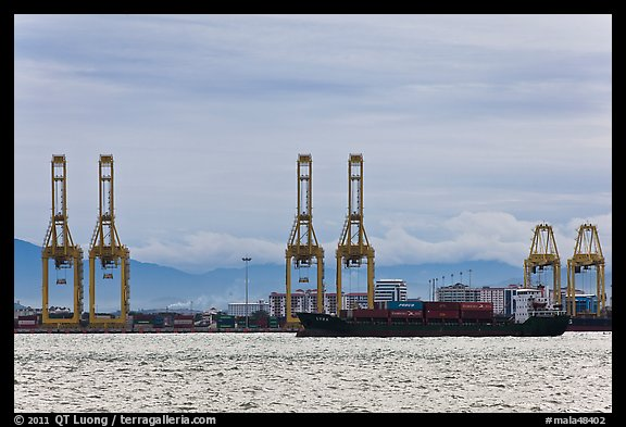 Port and container ship. George Town, Penang, Malaysia