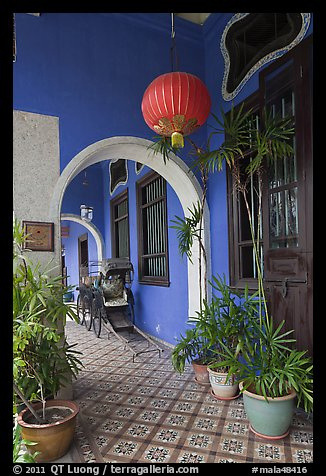 Blue exterior gallery, Cheong Fatt Tze Mansion. George Town, Penang, Malaysia (color)