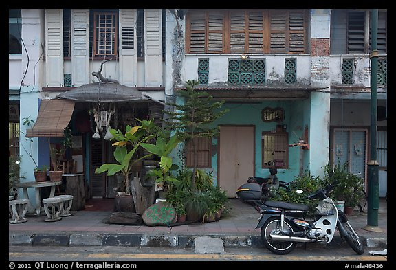 Old townhouse facades. George Town, Penang, Malaysia (color)