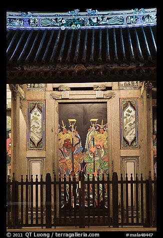 Temple doors by night. George Town, Penang, Malaysia (color)