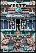 Tower detail, Sri Mariamman Temple. George Town, Penang, Malaysia (color)