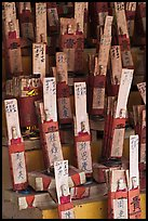 Sticks with names in Chinese characters, Kuan Yin Teng temple. George Town, Penang, Malaysia (color)