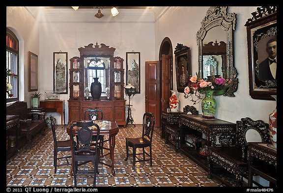 Room with furniture inside Pinang Peranakan Mansion. George Town, Penang, Malaysia (color)