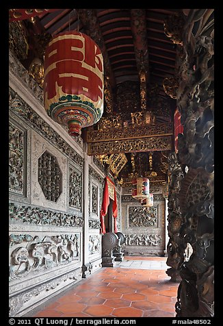Gallery with paper lamps and stone carvings, Khoo Kongsi. George Town, Penang, Malaysia (color)