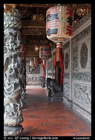 Paper lamps and rich carvings, Khoo Kongsi. George Town, Penang, Malaysia (color)