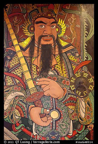 Guardian painting on door, Hock Tik Cheng Sin Temple. George Town, Penang, Malaysia (color)