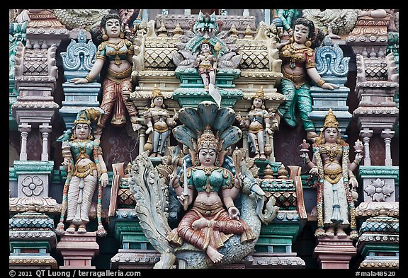 Detail of south indian temple tower. George Town, Penang, Malaysia