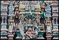 Detail of south indian temple tower. George Town, Penang, Malaysia (color)
