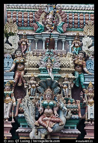 Sculpture on tower of hindu temple. George Town, Penang, Malaysia