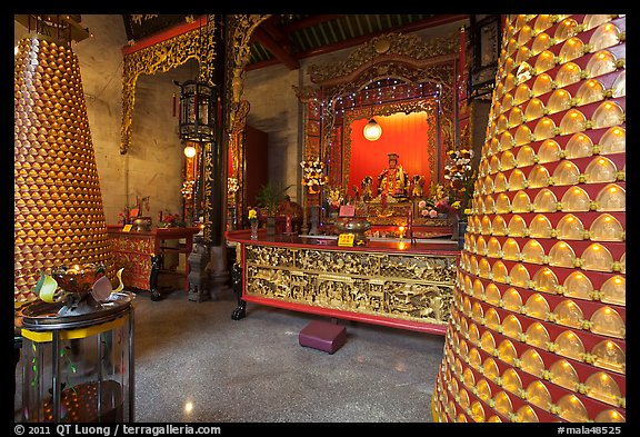 Wishing wheels and altar, Hainan Temple. George Town, Penang, Malaysia (color)