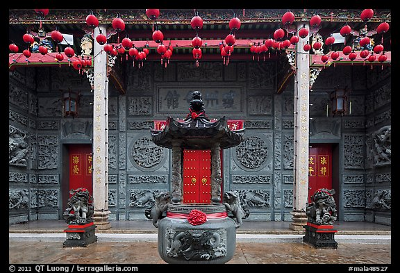 Slate and crimson facade, Hainan Temple. George Town, Penang, Malaysia (color)