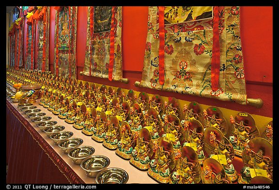 Amulets and Thangkas, Gelugpa Buddhist Association temple. George Town, Penang, Malaysia (color)