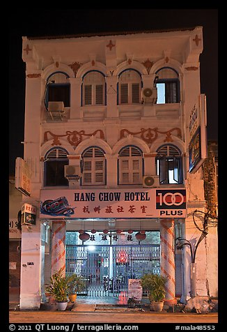 Chinatown hotel at night. George Town, Penang, Malaysia (color)