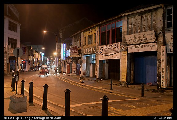 Chinatown street at night. George Town, Penang, Malaysia (color)