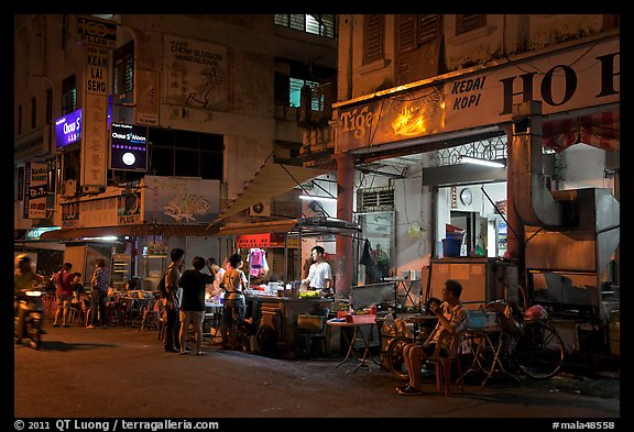 Street food stalls at night. George Town, Penang, Malaysia (color)