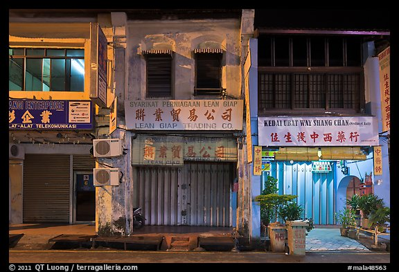 Storehouses at night. George Town, Penang, Malaysia (color)