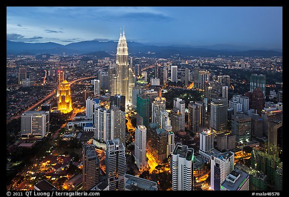 KL skyline with Petronas Towers from above, dusk. Kuala Lumpur, Malaysia (color)