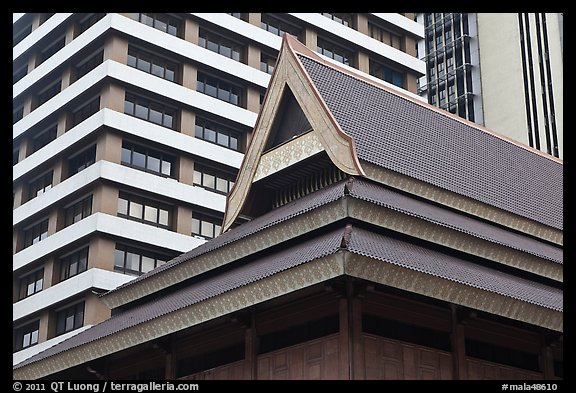 Picture Photo Roof Of Traditional Tek House And Modern Buildings Kuala Lumpur Malaysia