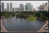 KLCC Park surrounded by high-rise towers. Kuala Lumpur, Malaysia