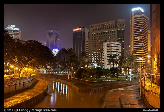 Confluence of Sungai Klang and Sungai Gombak (where the city founders first set foot). Kuala Lumpur, Malaysia (color)