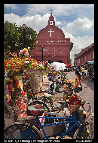 Malacca Town Square with trishaws and church. Malacca City, Malaysia (color)