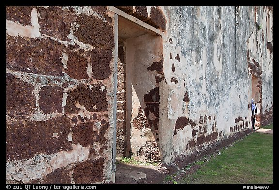 St Paul church stone walls. Malacca City, Malaysia (color)
