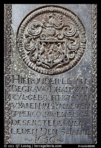 Tombstone of Dutch nobility. Malacca City, Malaysia (color)