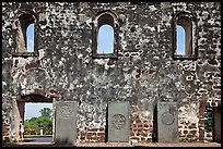 Church walls and tombstones, Bukit St Paul. Malacca City, Malaysia ( color)