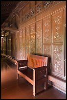 Wood panel and chair, sultanate palace. Malacca City, Malaysia ( color)