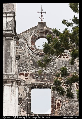 Wall and weatherwane on ruined St Paul Church. Malacca City, Malaysia (color)