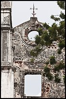 Wall and weatherwane on ruined St Paul Church. Malacca City, Malaysia ( color)