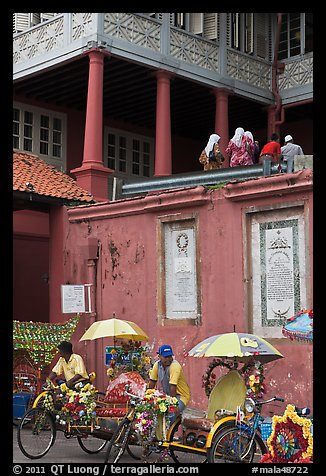 Trishaws in front of Stadthuys. Malacca City, Malaysia (color)