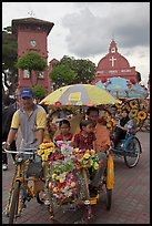 Bicycle Rickshaws ride, Town Square. Malacca City, Malaysia ( color)