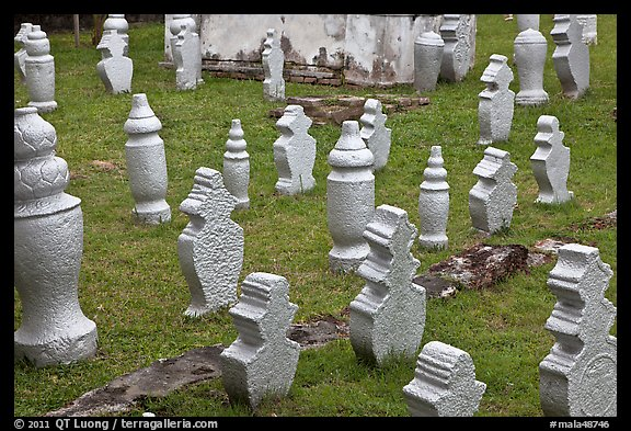 Muslim graves with simple markers, Kampung Kling. Malacca City, Malaysia (color)