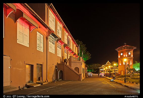 Stadthuys and clock tower at night. Malacca City, Malaysia (color)
