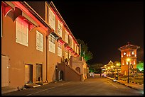 Stadthuys and clock tower at night. Malacca City, Malaysia ( color)