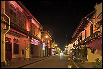 Chinatown street at night. Malacca City, Malaysia ( color)