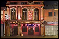 Restaurant facade at night. Malacca City, Malaysia ( color)