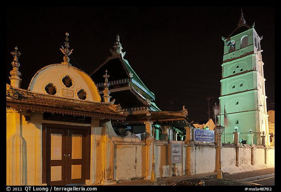 Gate, Mosque, and minaret, Masjid Kampung Hulu at night. Malacca City, Malaysia (color)