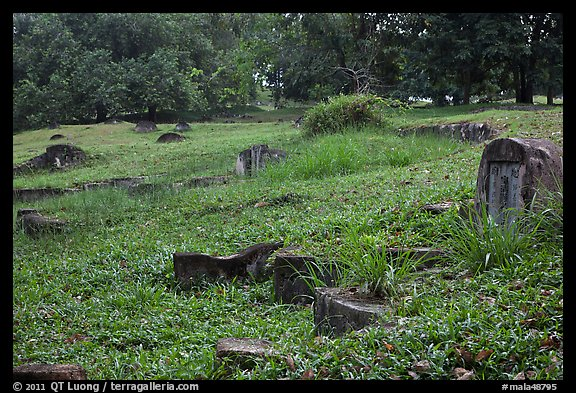 Chinese tombstones, Bukit China cemetery. Malacca City, Malaysia (color)